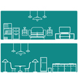 Interior Banner set with furniture vector image