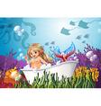A bathtub under the sea with a mermaid vector image