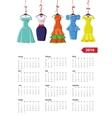 Calendar 2016 yearFemale summer dresses vector image