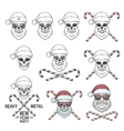 Big set of Santa Claus skulls with candy cones and vector image