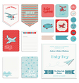 Baby Shower Boy Set - Tags Banners Labels Cards vector image