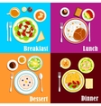 European breakfast dinner and lunch vector image