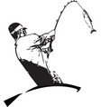 man fishing from the boat vector image