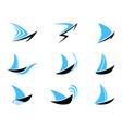 sailboat icons set vector image