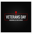 veterans day logo design background vector image