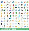 100 active life icons set isometric 3d style vector image