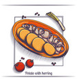 potato with herring vector image