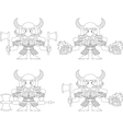 Dwarfs with beer mugs and axes outline vector image vector image