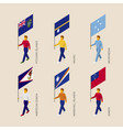 set of isometric 3d people with flags of oceania vector image