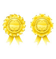 gold winners laurel rosettes vector image