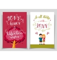 Valentines day greeting cards set with calligraphy vector image vector image