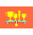 Trophies and awards on shelf vector image