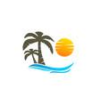 coconut tree and sun logo vector image