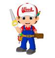 funny carpenter cartoon vector image