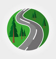 road through the forest logotype badge vector image