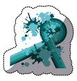 sticker blue abstract retro curved lines with vector image