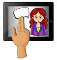 A gadget with a woman having a rectangular callout vector image vector image