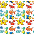 Seamless design with sea creatures vector image vector image