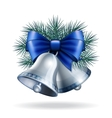 Silver bells with blue ribbon vector image