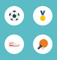 flat icons shoes table tennis ball and other vector image