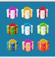 realistic 3d detailed present boxes set vector image