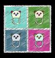 Set of flat shading style icons teddy bear bib vector image