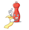 with menu pepper mill character cartoon vector image