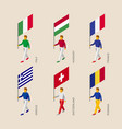 isometric people with flags of europe vector image