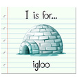 Flashcard alphabet I is for igloo vector image
