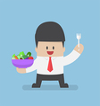 Businessman holding vegetables salad bowl and fork vector image
