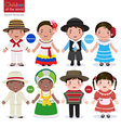 Kids in different traditional costumes Colombia vector image