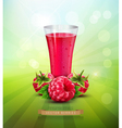 raspberry and a glass of raspberry juice vector image