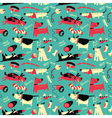 seamless pattern with cartoon funny dogs vector image