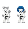 serious husky martial arts vector image