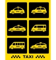 set of taxi car on black buttons vector image