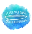 Surfing board white logo on blue watercolor vector image