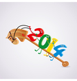 toy horse with new year 2014 riding numbers vector image