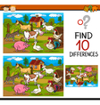 finding differences game cartoon vector image