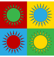 Pop art sun icons vector image