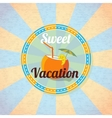 Summer beach cocktail in coconut with umbrella and vector image