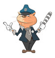 cute cat police officer cartoon vector image