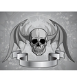 Human Skull with wings - vector image