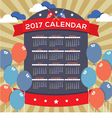 Modern Abstract 2017 Printable Calendar vector image