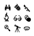 Set icons of optics equipment vector image