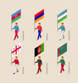 set of isometric people with flags of middle east vector image