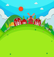 Farm land with barns and windmill vector image vector image