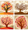 Art of orange trees growing on beautiful meadow st vector image