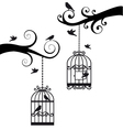 branches with birdcages vector image
