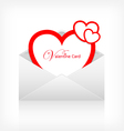 Envelope letter modern red heart card vector image
