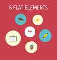 Flat icons whiteboard tea date and other vector image